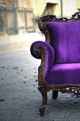 Vintage Purple Velvet Chair